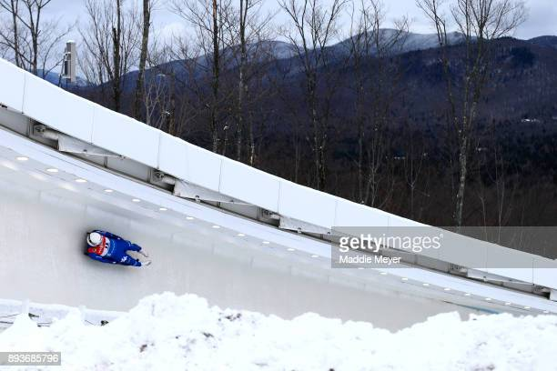 Emanuel Rieder of Italy completes his second run in the Men's competition of the Viessmann FIL Luge World Cup at Lake Placid Olympic Center on...