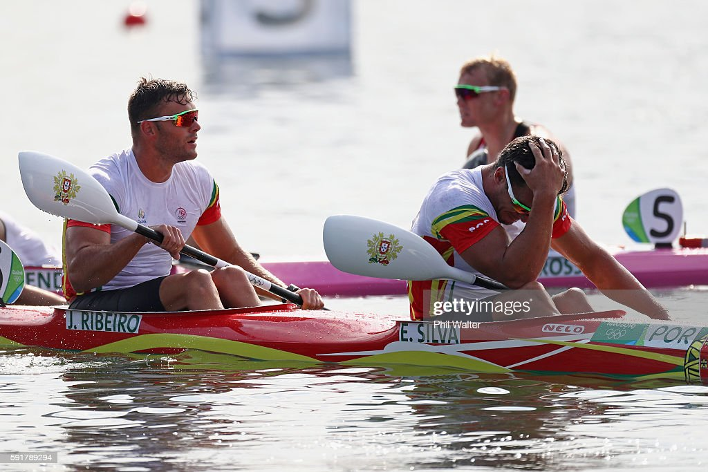 Emanuel Silva and Joao Ribeiro of Portugal react during the Men's Kayak Double 1000m Final at the Lagoa Stadium on Day 13 of the 2016 Rio Olympic Games on August 18, 2016 in Rio de Janeiro, Brazil.