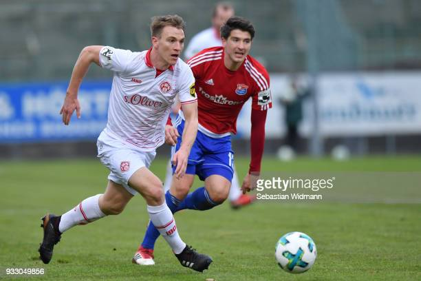 Emanuel Taffertshofer of Wuerzburg plays the ball during the 3 Liga match between SpVgg Unterhaching and FC Wuerzburger Kickers at Alpenbauer...