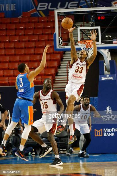 Emanuel Terry blocks a shot against the Oklahoma City Blue during a NBA GLeague game on December 29 2018 at the Cox Convention Center in Oklahoma...