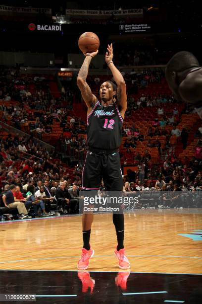 Emanuel Terry of the Miami Heat shoots a free throw during the game against the Detroit Pistons on February 23 2019 at American Airlines Arena in...