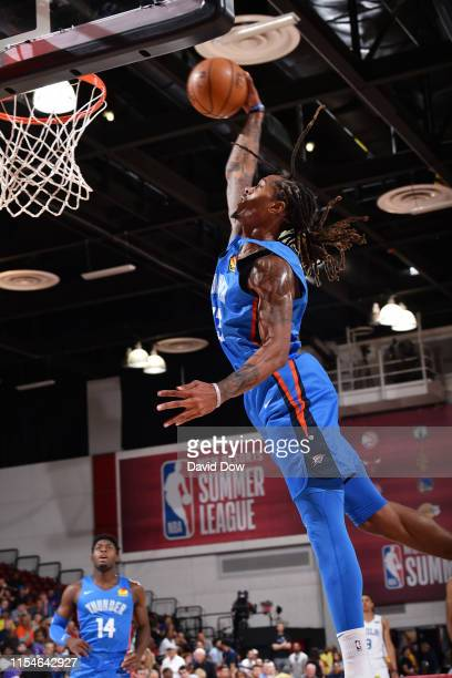 Emanuel Terry of the Oklahoma City Thunder dunks the ball against the Philadelphia 76ers on July 8 2019 at the Cox Pavilion in Las Vegas Nevada NOTE...