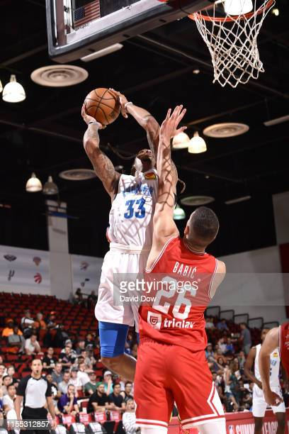 Emanuel Terry of the Oklahoma City Thunder goes up for contested shot against the Croatia during Day 8 of the 2019 Las Vegas Summer League on July 12...