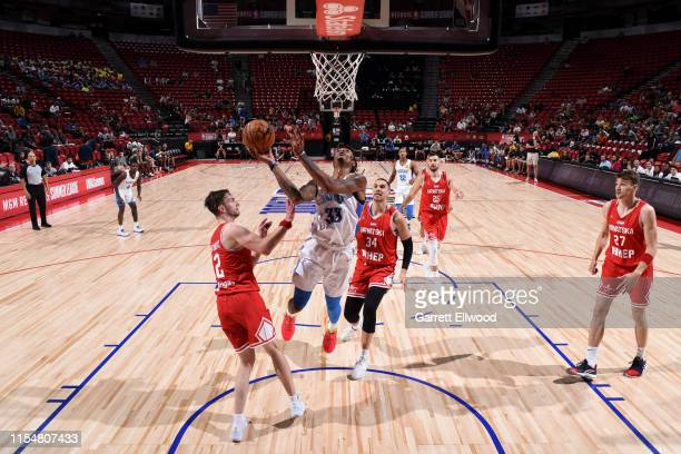 Emanuel Terry of the Oklahoma City Thunder shoots the ball against Croatia during Day 5 of the 2019 Las Vegas Summer League on July 9, 2019 at the...