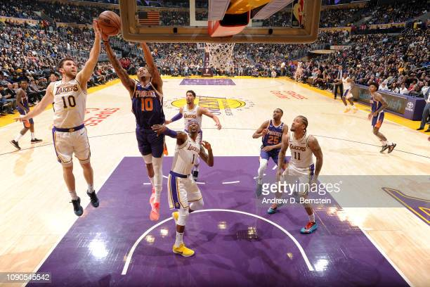 Emanuel Terry of the Phoenix Suns rebounds the ball against the Los Angeles Lakers on January 27 2019 at STAPLES Center in Los Angeles California...