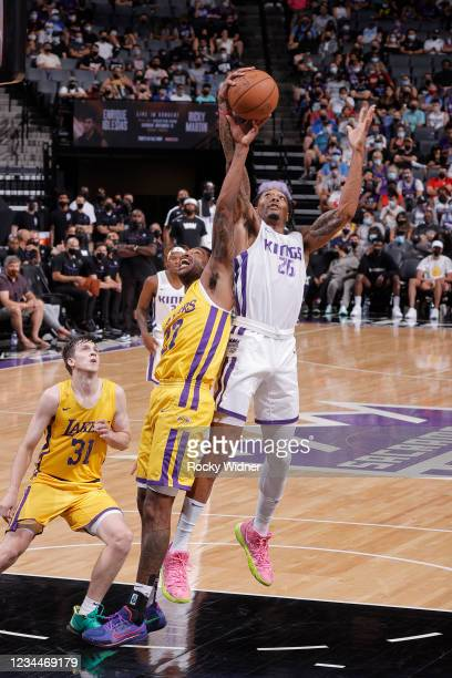 Emanuel Terry of the Sacramento Kings rebounds the ball against the Los Angeles Lakers during the 2021 California Classic Summer League on August 4,...