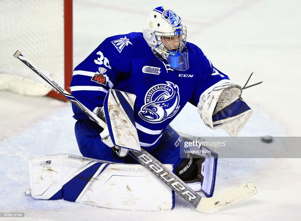 Emanuel Vella #30 of the Mississauga Steelheads makes a save during the first period of an OHL game against the Niagara IceDogs at the Meridian Centre on November 25, 2017 in St Catharines, Ontario, Canada.