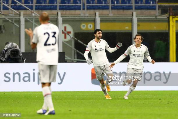 Emanuel Vignato of Bologna F.C. 1909 celebrates scoring their sides first goal during the Serie A match between FC Internazionale and Bologna FC at...