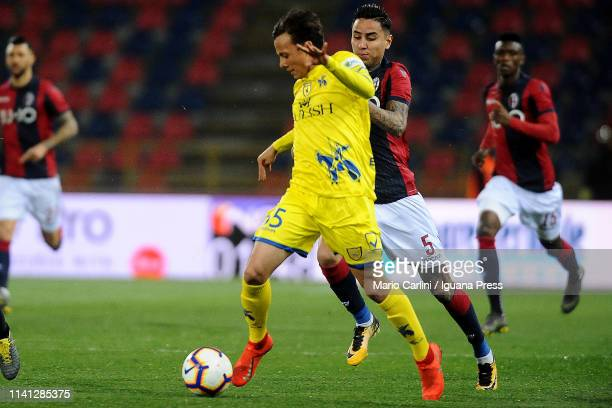 Emanuel Vignato of Chievo in ation during the Serie A match between Bologna FC and Chievo at Stadio Renato Dall'Ara on April 08 2019 in Bologna Italy