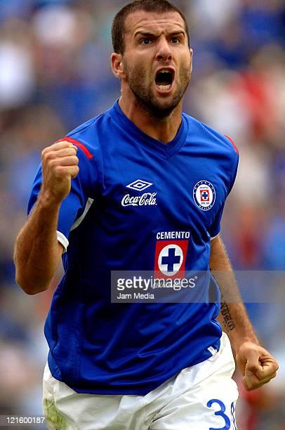 Emanuel Villa of Cruz Azul celebrate a scored goal during a match between Cruz Azul and Tijuana as part of the Apertura 2011 at Azul Stadium on...