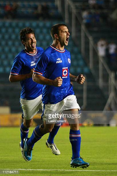 Emanuel Villa of Cruz Azul celebrates a scored goal during a match against Monterrey as part of the Clausura Tournament in the Mexican Football...