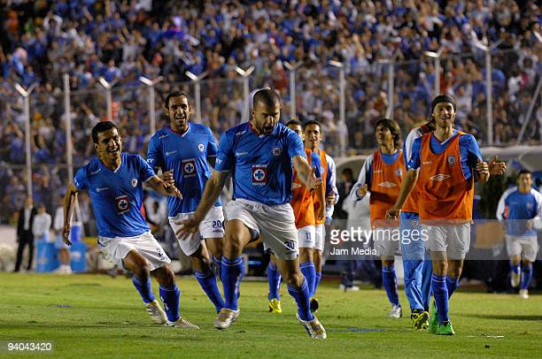 Emanuel Villa of Cruz Azul celebrates victory over Morelia during their semifinals match as part of the 2009 Opening tournament in the Mexican...