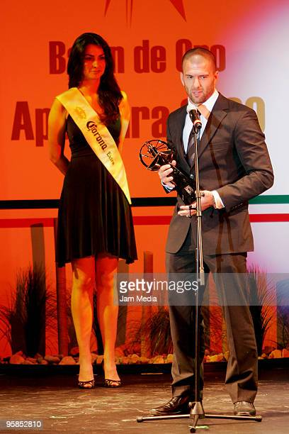 Emanuel Villa of Cruz Azul gives his acceptance speech after receiving the Balon de Oro of best striker during a soccer awards ceremony promoted by...