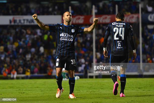 Emanuel Villa of Queretaro celebrates the third goal of his team during a 10th round match between Queretaro and Leon as part of the Apertura 2015...