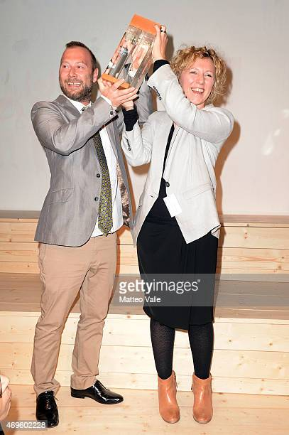 Emanuela Corti and Ivan Parati attend Lexus Opening cocktail party on April 13 2015 in Milan Italy