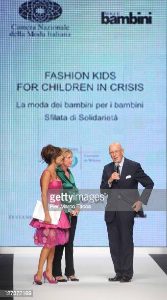 Emanuela Folliero and Mario Boselli walk the runway at the Fashion Kids For Children In Crisis Spring/Summer 2012 fashion show as part Milan...