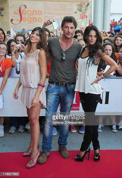Emanuela Tittocchia Roberto Farnesi and Katy Louise Saunders attend the 2011 Giffoni Experience on July 18 2011 in Giffoni Valle Piana Italy