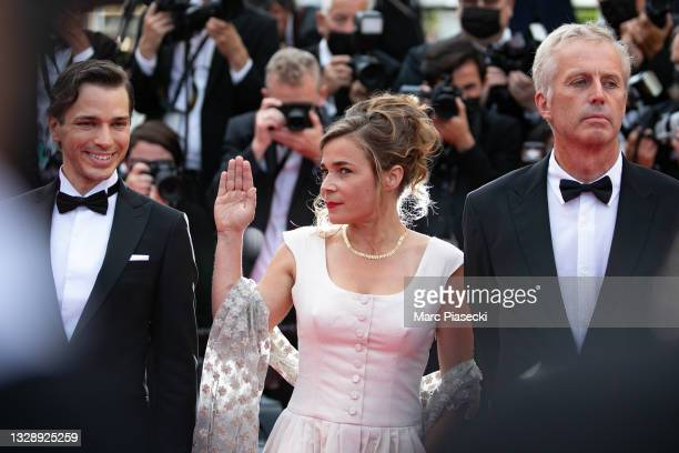 """Emanuele Arioli, Blanche Gardin and Bruno Dumont attend the """"France"""" screening during the 74th annual Cannes Film Festival on July 15, 2021 in..."""