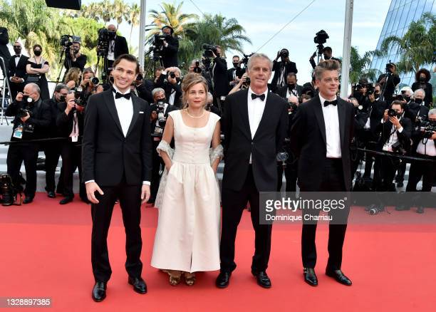 """Emanuele Arioli, Blanche Gardin, Bruno Dumont and Benjamin Biolay attend the """"France"""" screening during the 74th annual Cannes Film Festival on July..."""