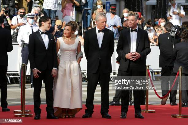 """Emanuele Arioli, Blanche Gardin, Bruno Dumont and Benjamin Biolay attends the """"France"""" screening during the 74th annual Cannes Film Festival on July..."""