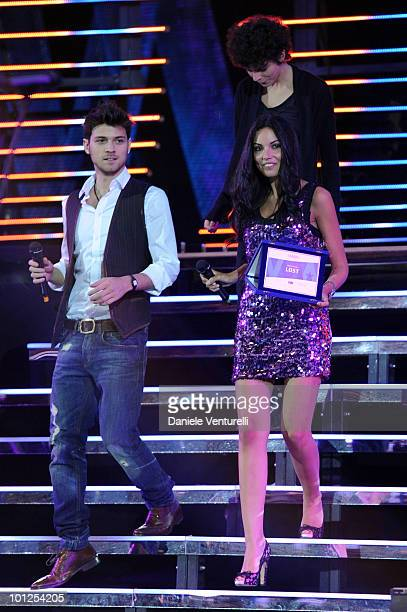 Emanuele Bosi and Michela Quattrociocche attend the Wind Music Awards Show at the Arena of Verona on May 28 2010 in Verona Italy