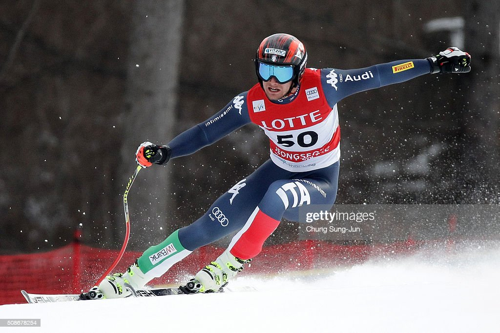 Emanuele Buzzi of Italy competes in the Men's Downhill Finals during the 2016 Audi FIS Ski World Cup at the Jeongseon Alpine Centre on February 6, 2016 in Jeongseon-gun, South Korea.