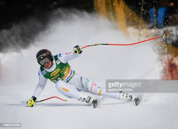 Emanuele Buzzi of Italy rounds the gate at Claire's Corner during the Audi FIS Alpine Ski World Cup Mens 2019 SuperG race at the Lake Louise ski...