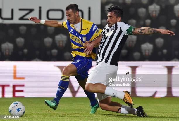 Emanuele Calaio' of Parma Calcio and Andrea Mengoni of Ascoli Pichhio in action during the match between Ascoli Picchio and Parma Calcio at Stadio...