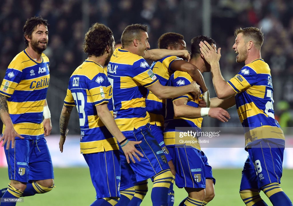 Emanuele Calaio' of Parma Calcio celebrates after scoring opening goal during the match between Ascoli Picchio and Parma Calcio at Stadio Cino e Lillo Del Duca on April 16, 2018 in Ascoli Piceno, Italy.