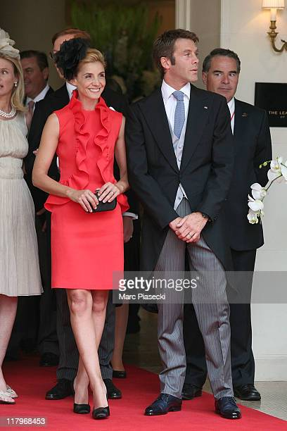 Emanuele Filiberto of Savoia and his wife princess Clotilde Courau leave the 'Hermitage' hotel to attend the religious ceremony of the Royal Wedding...