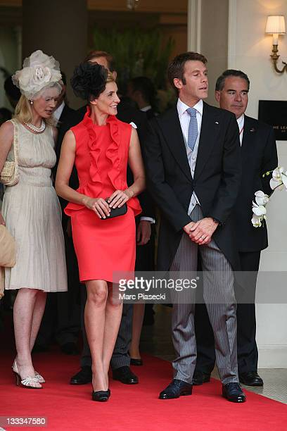 Emanuele Filiberto of Savoia and his wife princess Clotilde Courau are sighted leaving the 'Hermitage' hotel to attend the Royal Wedding of Prince...