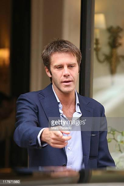 Emanuele Filiberto of Savoia leaves the 'Hermitage' hotel before the Royal Wedding of Prince Albert II of Monaco to Charlene Wittstock in the main...