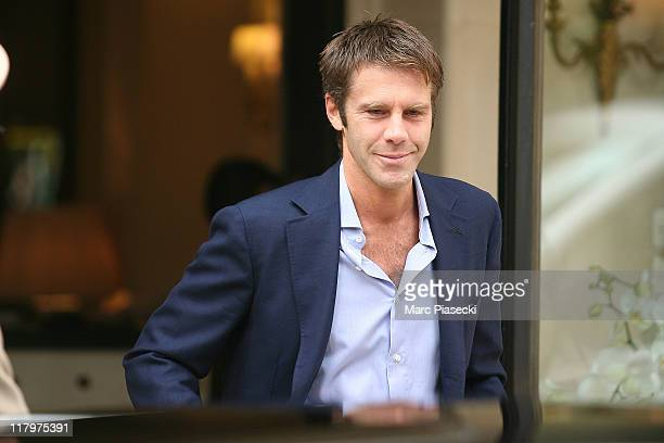 Emanuele Filiberto of Savoia leaves the 'Hermitage' hotel before the ceremony of the Royal Wedding of Prince Albert II of Monaco to Charlene...