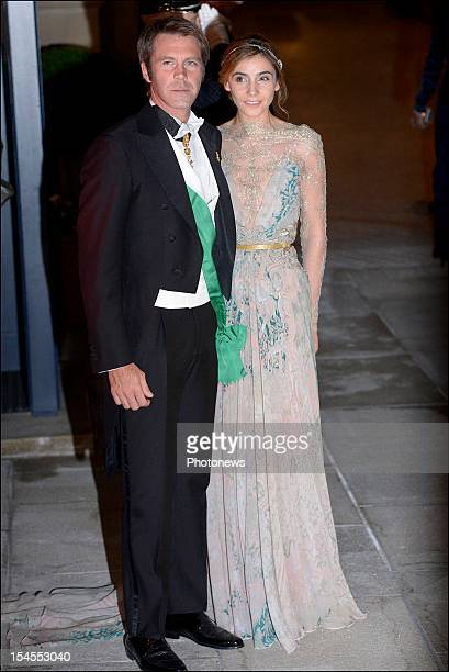 Emanuele Filiberto, Prince of Venice and Piedmont and Clothilde Courau, Princess of Venice and Piedmont arrive at the Gala Dinner for the wedding of...