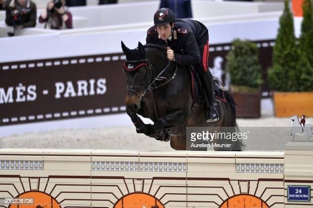 Emanuele Gaudiano of Italia on Carlotta 232 competes during the Saut Hermes at Le Grand Palais on March 17 2018 in Paris France