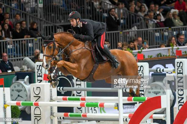 Emanuele Gaudiano of Italy riding Chalou during the Longines FEI Jumping World Cup Verona 2018 CSI5*W on October 28 2018 in Verona Italy