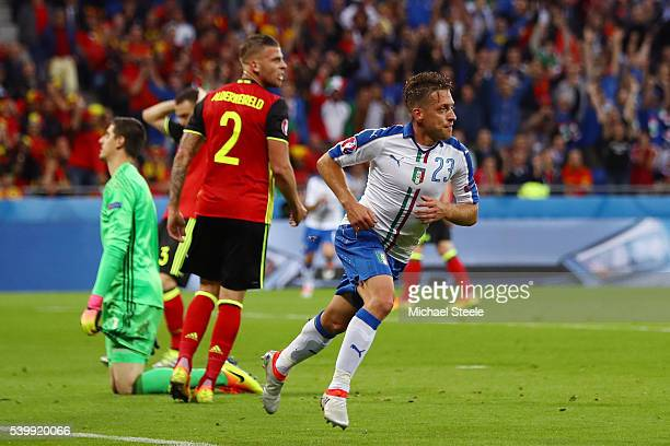 Emanuele Giaccherini of Italy celebrates scoring his team's first goal during the UEFA EURO 2016 Group E match between Belgium and Italy at Stade des...