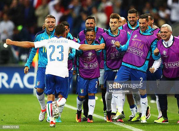 Emanuele Giaccherini of Italy celebrates scoring his team's first goal with his team mates during the UEFA EURO 2016 Group E match between Belgium...