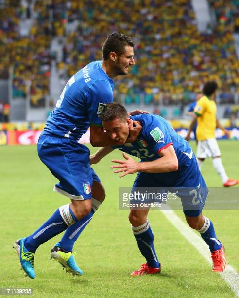 Emanuele Giaccherini of Italy celebrates with team mate Antonio Candreva during the FIFA Confederations Cup Brazil 2013 Group A match between Italy...