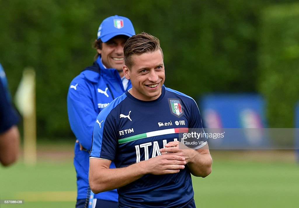 Emanuele Giaccherini of Italy smiles during the Italy training session at the club's training ground at Coverciano on June 02, 2016 in Florence, Italy.
