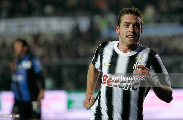 Emanuele Giaccherini of Juventus FC celebrates his goal during the Serie A match between Atalanta BC and Juventus FC at Stadio Atleti Azzurri...