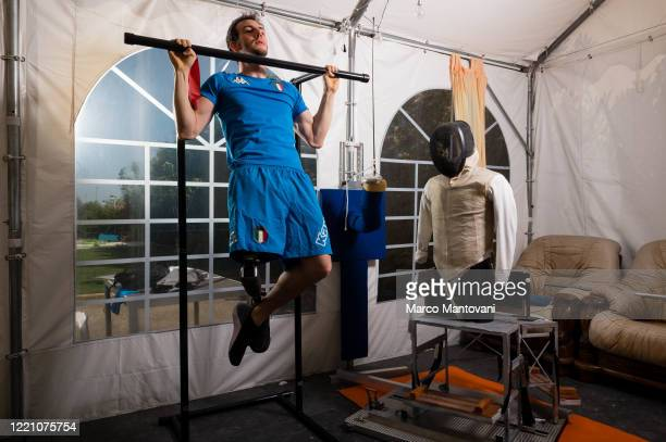 Emanuele Lambertini trains in isolation on April 25, 2020 in Bologna, Italy. The coronavirus and the disease it causes, COVID-19, are having a...