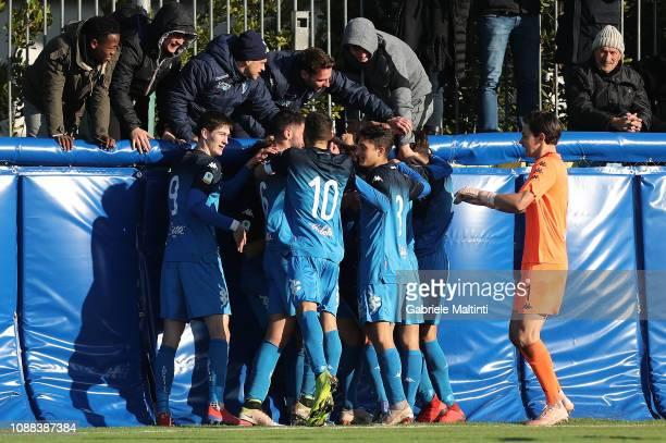 Emanuele Matteucci of Empoli FC U19 celebrates after scoring a goal during the Serie A Primavera match between Empoli U19 and Udinese U19 on January...