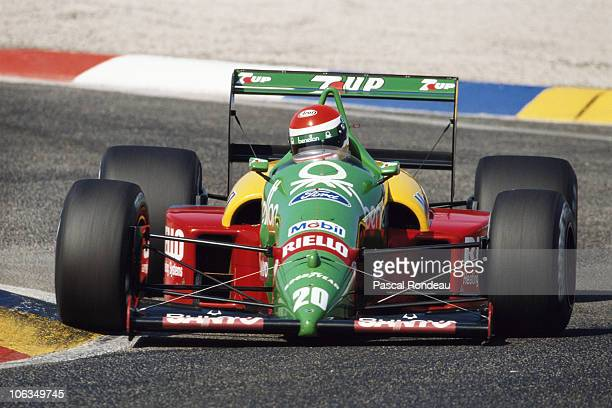 Emanuele Pirro drives the Benetton Formula Benetton B188 Ford Cosworth DFR 35 V8 during practice for the French Grand Prix on 8th July 1989 at the...