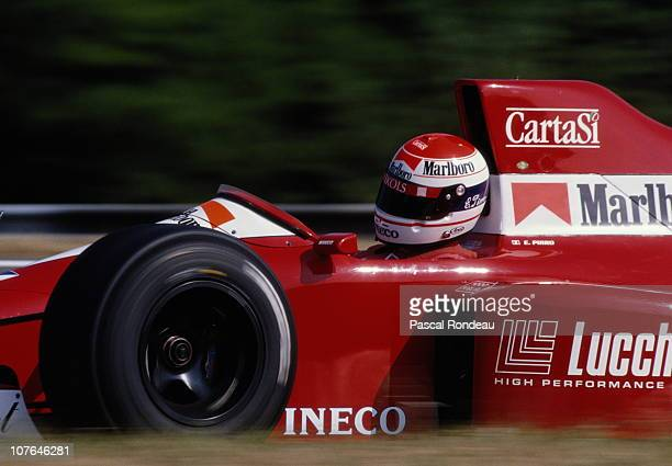 Emanuele Pirro drives the Scuderia Italia SpADallara BMSF190 Ford Cosworth DFR 35 V8 during the Grand Prix of Hungary on 12th August 1990 at the...