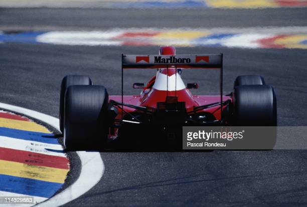 Emanuele Pirro drives the Scuderia Italia SpADallara BMSF190 Ford Cosworth DFR 35 V8 during the RhonePoulenc French Grand Prix on 8th July 1990 at...