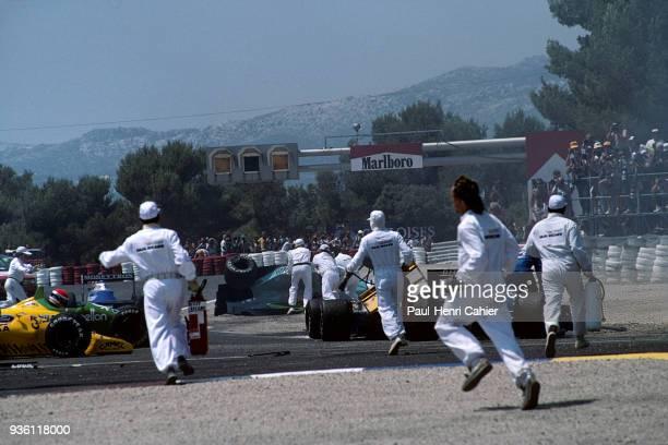 Emanuele Pirro Mauricio Gugelmin Rene Arnoux BenettonFord B188 MarchJudd CG891 LigierFord JS33 Grand Prix of France Circuit Paul Ricard 09 July 1989...