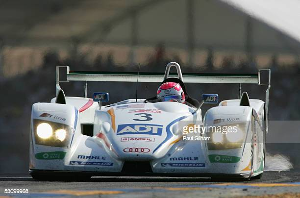Emanuele Pirro of Italy and The Champion Racing Audi R8 in action during the Le Mans 24 Hour Race at the Circuit Des 24 Heures Du Mans on June 18...