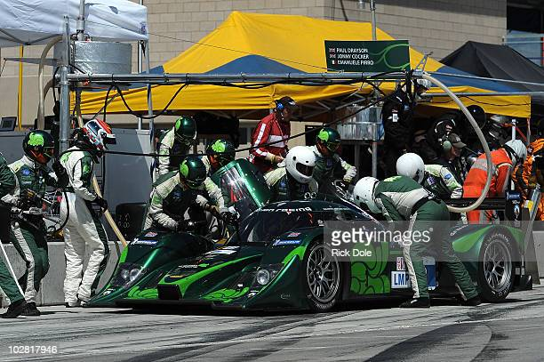 Emanuele Pirro of Italy and the Drayson Racing Lola in for a pit stop during the American Le Mans Series Larry H Miller Dealerships Utah Grand Prix...
