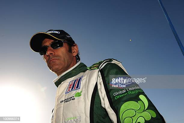 Emanuele Pirro of Italy driver of the Drayson Racing Lola Judd during the American Le Mans Series Monterey at Mazda Raceway Laguna Seca on May 22...